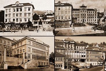 Bau-Etappen der Uhrmacherschule auf Postkarten (oben) und Fotos.