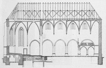 Längsschnitt durch Mittelschiff und Krypta - Masstab 1 : 300, Architekt E. J. Propper, Schweizerische Bauzeitung, Nr. 17, 1913
