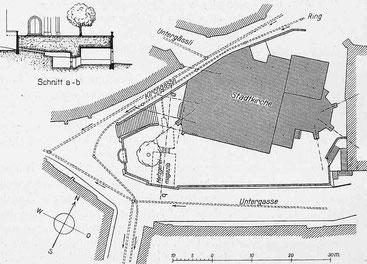 Lageplan und Schnitt a-b. - Masstab 1 : 1000, Architekt E. J. Propper, Schweizerische Bauzeitung, Nr. 17, 1913