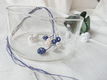 lace yarn frill pierced earring S/L