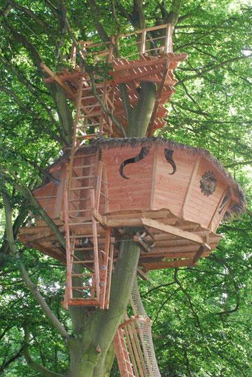 Cabane perchée à 12 m, accessible par une échelle à crinoline. La terrasse, 4 m au-dessus la cabane est accessible par une échelle droite.