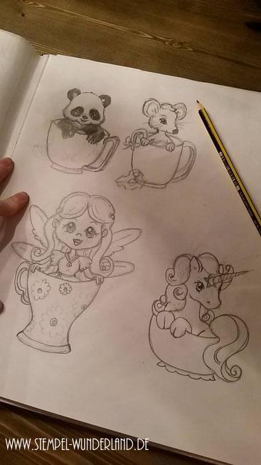 Skizzen Vorlagen für Stempel Pandabär Fee Einhorn und Maus mit Käse sitzen in einer Tasse vom Stempel-Wunderland.de