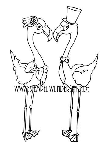 Digi Stamp Digitaler Stempel handgemacht Hochzeit Hochzeitspaar Flamingo Stempelset von www.stempel-wunderland.de