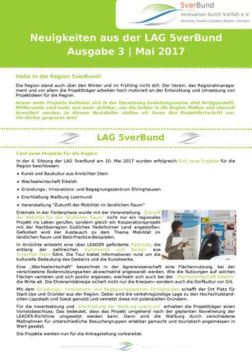 Titelseite der 3. Ausgabe des 5verBund-Newsletters