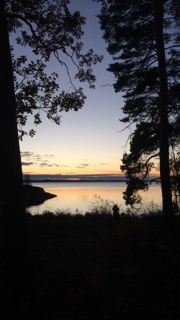 Sonnenuntergang in Marieudd am Mälaren-See