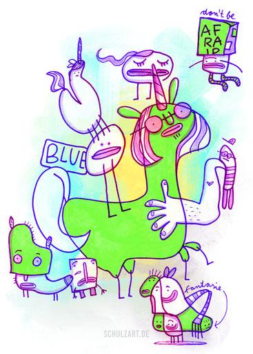 Grüne Einhörner auf dem Ponyhof. Eine Illustration in Procreate von Frank Schulz Berlin.