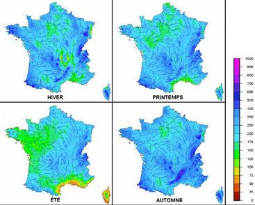 Précipitations et massifs forestiers par Météo France.