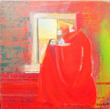 Nuit fenêtre rouge.     huile sur toile. 30,5 x 30.5 cm