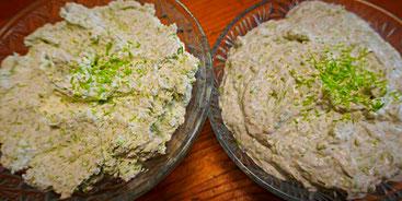 Frischkäse und vegane Creme mit zarten Fichtenspitzen