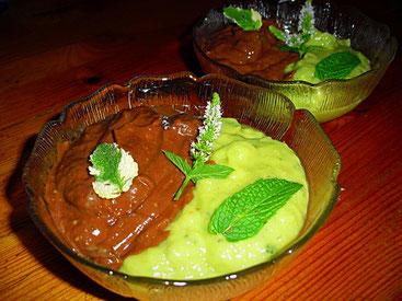 Avocadopudding mit Banane und Mango, Kakao und Minze