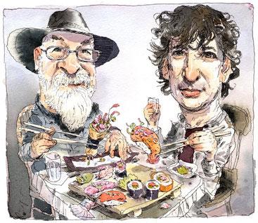 Caricatura de Terry Pratchett i Neil Gaiman