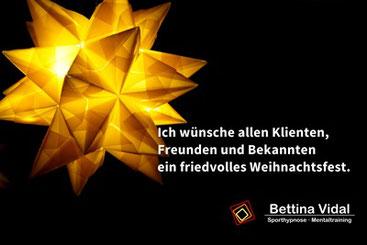Bettina Vidal wünscht allen Klienten ein frohes Fest