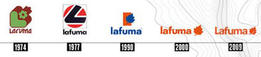 L'évolution du logo Lafuma à partir de 1974 (source Lafuma)