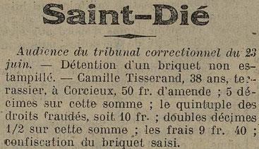 Le Télégramme des Vosges du 25 juin 1921