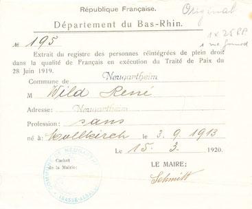 Certificat de réintégration dans la qualité de Français
