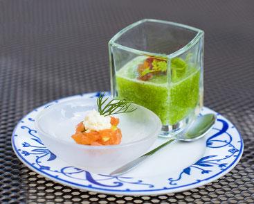 Met entrée amuse bouche saumon concombre