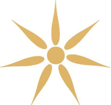 Einfacher Siebenstrahlstern, wie er in Klassik als Symbol des Asiranas genutzt wurde.