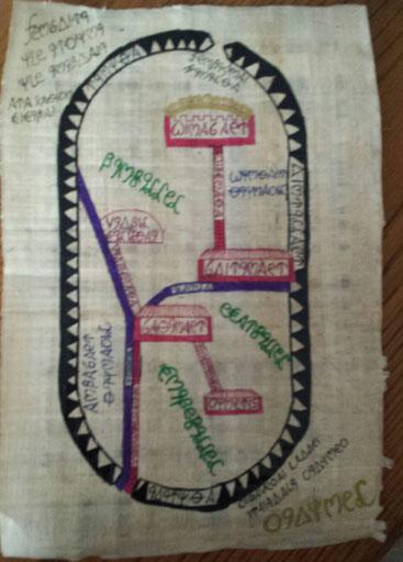 Eine Karte des Phorglina-Tals aus der Bibliothek von Pellos