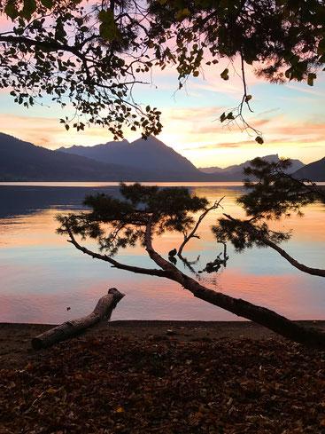 blog, reis van geluk, tamara linde, een nieuw begin, foto unterseen neuhaus interlaken, zwitserland sunset