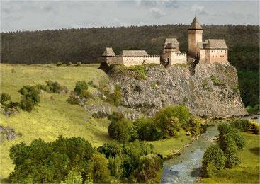 Rekonstrukce hradu Louzek z doby okolo 1430