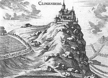 Rekonstrukce hradu Klingenberg (1634, Vischer)