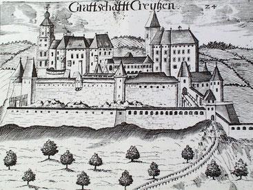 """Historische Ansicht der Burg """"Creutzen"""""""