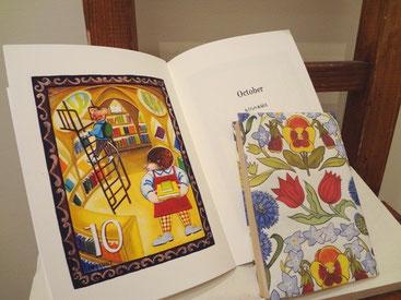 伊藤夏紀 個展 絵本冊子と花の包装紙