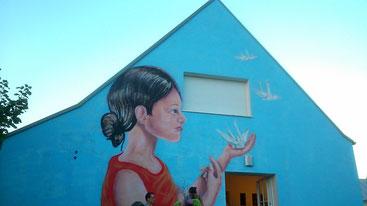 Fassade des Art House Project Eisenstadt, 2016 Acrylfarbe