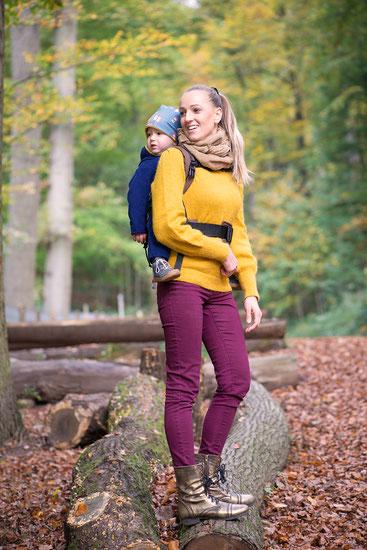 Huckepack Babytragen ab Geburt, Ring Sling mit Kleinkind, Hüftsitz