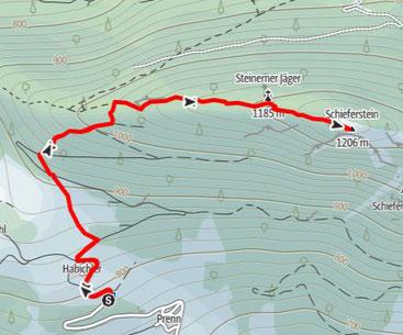 """Route Stoananer Jaga """"Steinerner Jäger"""" und Weiterwanderung auf den Schieferstein"""