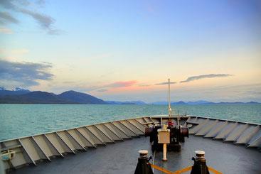 An Bord des kleinen Schiffes LeConte darf man sogar auf das Vorderdeck.