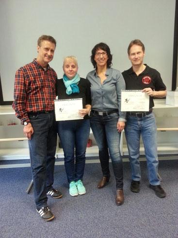 v. l.: Willm Wöllgens, Friederike Zeifang, Ulrike Maaß, Carsten Zeifang im April 2018 in Hennef