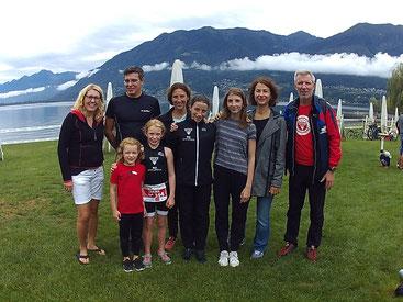 Livia, Sarina, Flavia und Silva mit ihren Eltern in Locarno