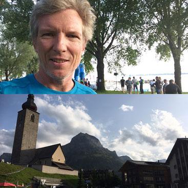 Philip Schädler vor dem Start und das Ziel Lech am Arlberg