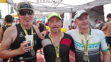 Philip Schädler, Johann Karner und Torsten Queisser (vlnr) haben das Ziel erreicht (Foto: M. Weise)