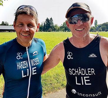 Christian und Philip freuen sich über ihr gutes Abschneiden beim Uster Triathlon