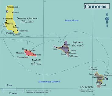 Isole Comore e Mayotte (amministrata dalla Francia, ma pretesa dalle Comore)