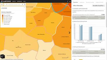 Capture d'écran de Cartoviz - Statistiques pour Vélizy-Villacoublay.