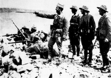 Commandante Franco (Mitte) 1921 mit Offizieren der 1. Bandera der spanischen Fremdenlegion