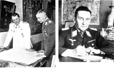 Jeschonnek, Chef Göring (l) und Grauert (1940)(r) : Die ersten deutschen Soldaten die Gaswaffe per Flugzeug einsetzen