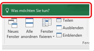 Excel 2016 Was möchten Sie tun?
