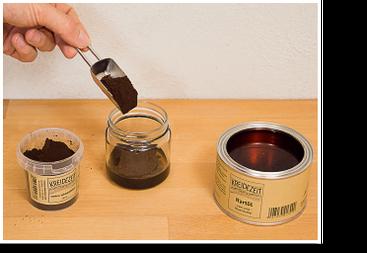 Öle und Wachse pigmentieren: Pigment in Öl geben