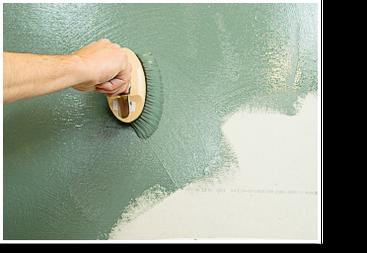 auftragen der pigmentierten Wandfarbe