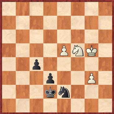 Ortiz - Sebastian: Schwarz erzwang hier das Remis durch 57. ... Sxb6! 58.Sxb6 f4 59.Sc3 f3