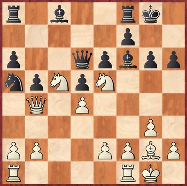 Straßner - Holler: Weiß kam hier mit 16.Sg4! in Vorteil da der Bauer h6 mit Schach hängt und auch der Springer auf a5 ungedeckt ist.