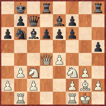 Tietze - Roth: Schwarz zog hier 21. ... Tdg8? anstatt mit d5! das Zentrum zu öffnen und in Vorteil zu kommen