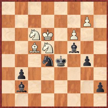 Menz - Mauelshagen: Schwarz verpasste hier das offensichtliche und entscheidende 43. ... Sg4! was ersatzlos zwei (!) Figuren für Schwarz gewinnt