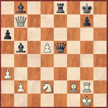 Wichmann - Margenberg: Mit 38. ... Dxb2 gewann Schwarz hier die Oberhand und wenig später die Partie