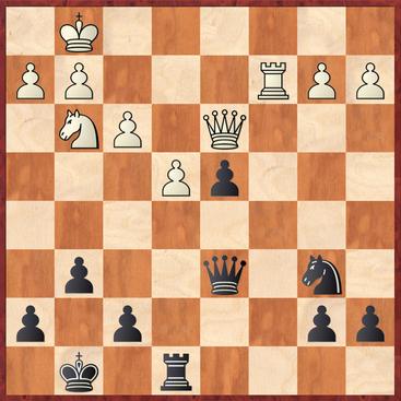 Margenberg - Neumann: Schwarz zog hier 22. ... Sa4?? und verlor nach 23.Db5! entscheidendes Material