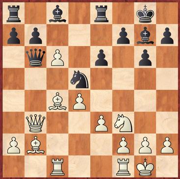 Mauelshagen - Brensing: Schwarz stellte hier mit 16. ... Dxb3? einen Bauern ein, da Weiß nach 17.Lxb3 den Bauern c6 überdeckt.